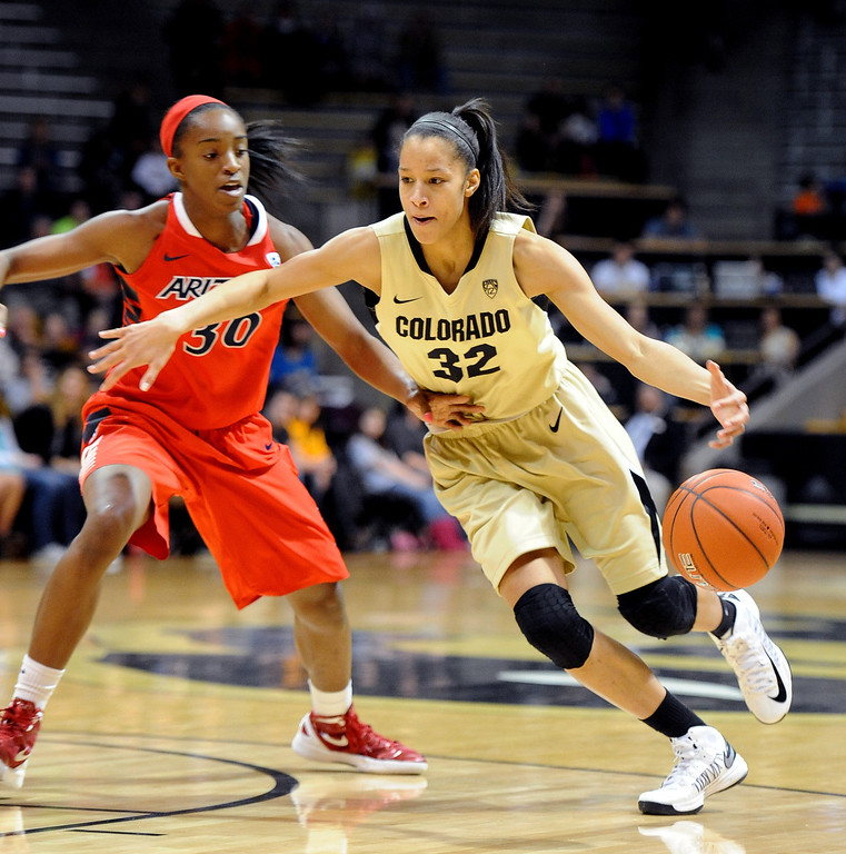. Arielle Roberson of Colorado, drives on Alli Gloyd of Arizona, during the first half of the January 20th, 2013 game in Boulder. Cliff Grassmick/The Daily Camera