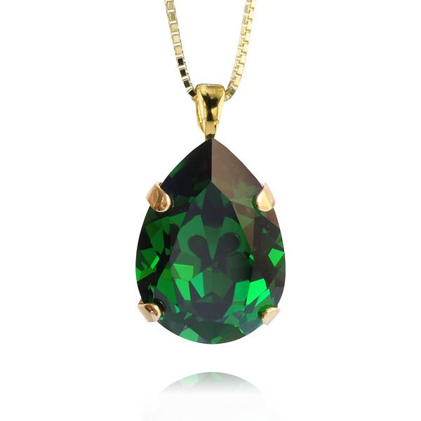 Classic Drop Necklace / Dark Moss Green / Gold