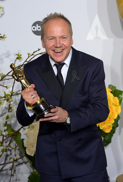 ". Glenn Freemantle accept the Award for ""Achievement in Sound Editing\"" for the film Gravity, backstage at the 86th Academy Awards at the Dolby Theatre in Hollywood, California on Sunday March 2, 2014 (Photo by David Crane / Los Angeles Daily News)"
