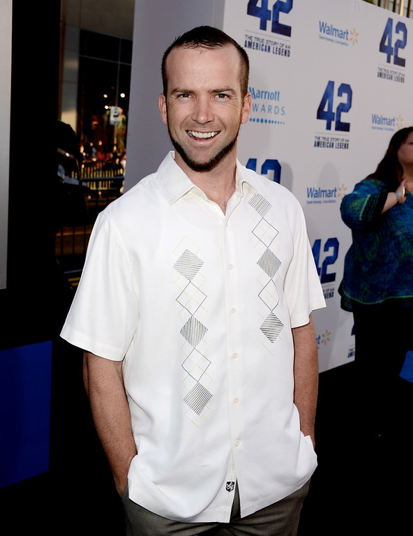 """. Actor Lucas Black arrives at the premiere of Warner Bros. Pictures\' and Legendary Pictures\' \""""42\"""" at the Chinese Theatre on April 9, 2013 in Los Angeles, California.  (Photo by Kevin Winter/Getty Images)"""