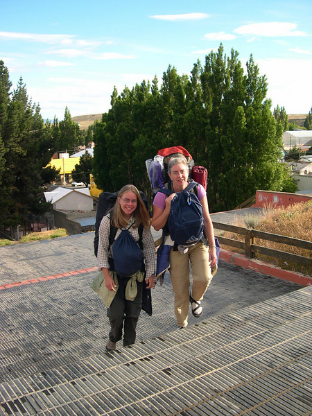 Climbing the steps to bus terminal in Calafate, Argentina.
