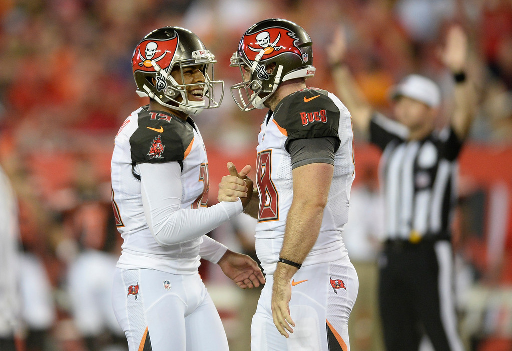 . Tampa Bay Buccaneers kicker Roberto Aguayo (19) celebrates his field goal against the Cleveland Browns with Andrew DePaola (48) during the first quarter of an NFL football game Friday, Aug. 26, 2016, in Tampa, Fla. (AP Photo/Jason Behnken)