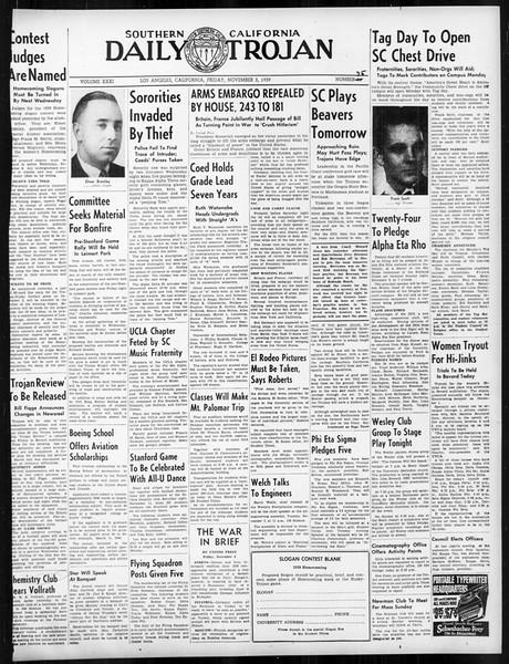 Daily Trojan, Vol. 31, No. 35, November 03, 1939