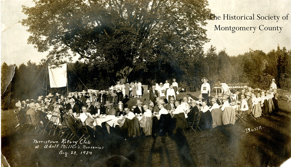 . This photo from the Historical Society of Montgomery County shows a gathering of the Norristown Rotary Club in 1924.