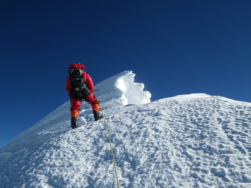 Aarita Sherpa approaching South Summit (28,700ft = 8.748m).