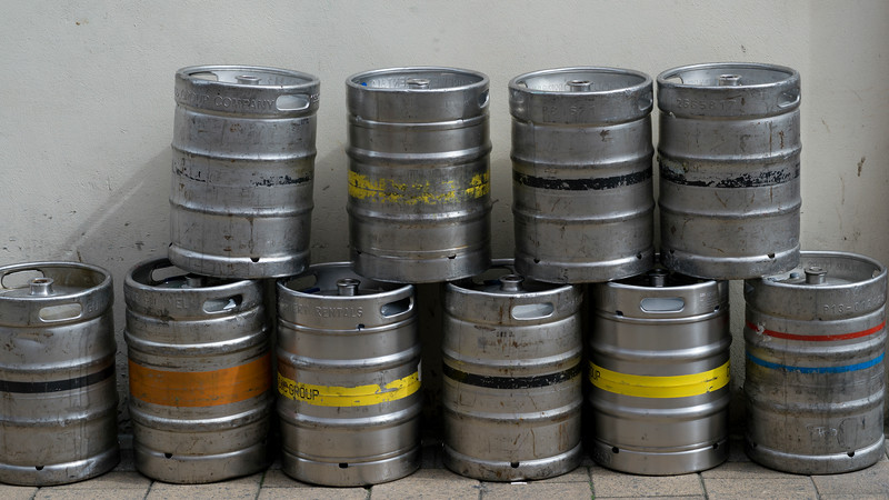 Stack of beer kegs against a wall, Londonderry, Northern Ireland, Ireland
