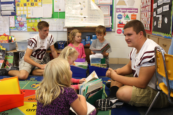 Football Team Reading Day at North Elementary