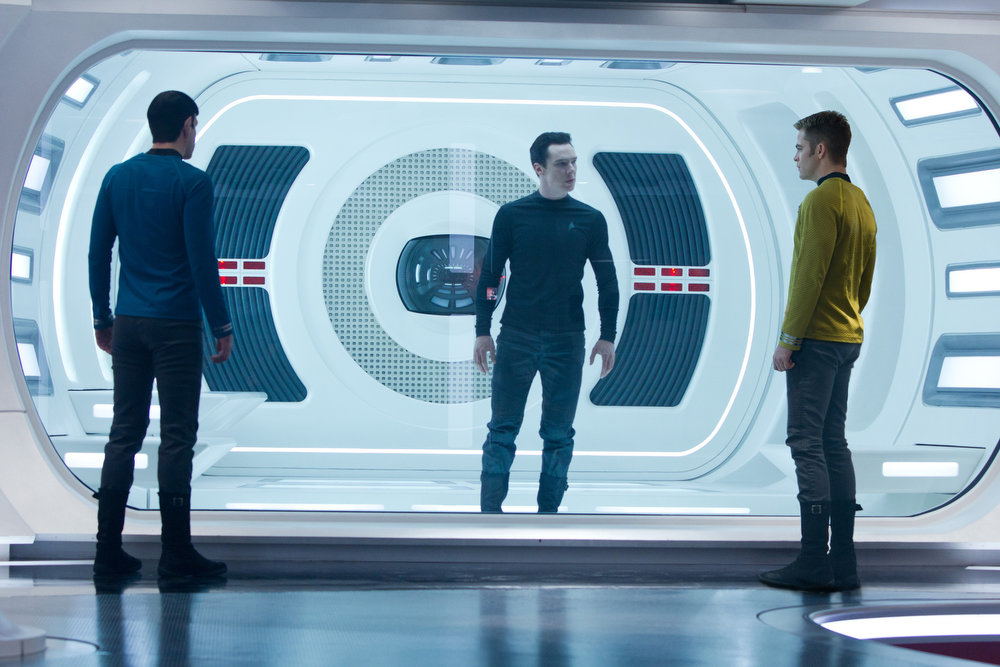 . (Left to right) Zachary Quinto is Spock, Benedict Cumberbatch is John Harrison, and Chris Pine is Kirk in STAR TREK INTO DARKNESS, from Paramount Pictures and Skydance Productions.   (Photo by Zade Rosenthal)