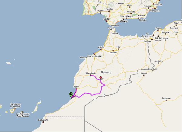 cycling route from Marrakech tot Agadir