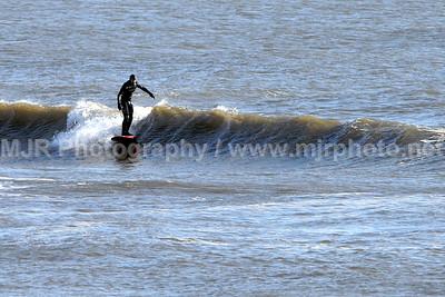 Surfing, Gilgo Beach, NY, (12-25-07)