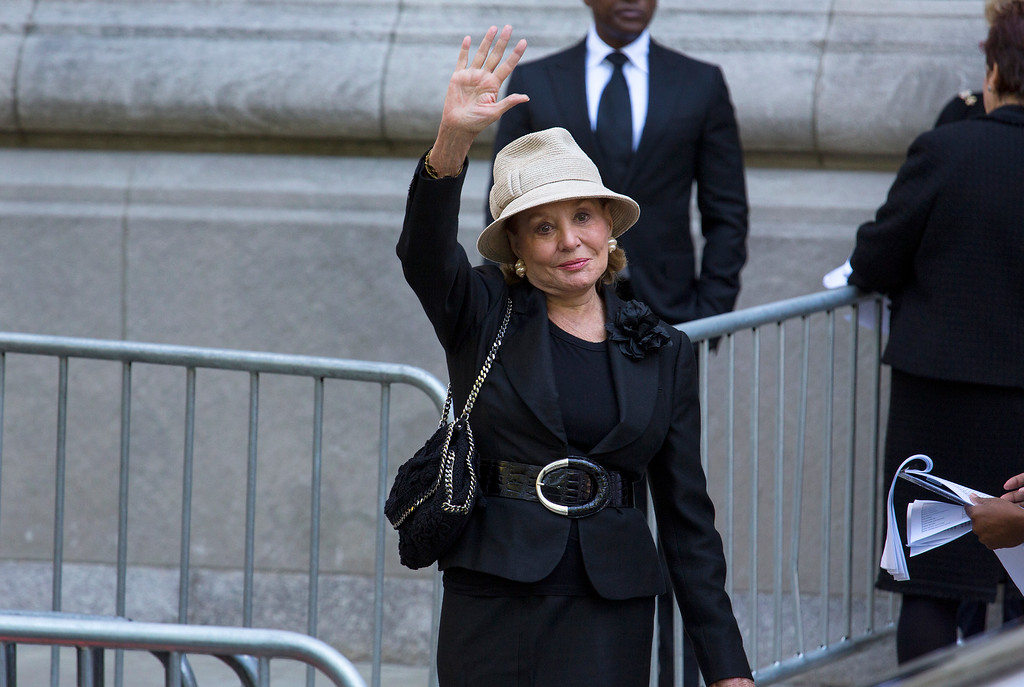 . Barbara Walters arrives at a funeral service for comedian Joan Rivers at Temple Emanu-El in New York, Sunday, Sept. 7, 2014. Rivers died Thursday, Sept. 4, 2014. She was 81. (AP Photo/Craig Ruttle)
