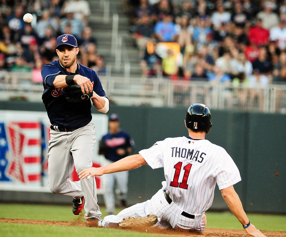 . Minnesota Twins center fielder Clete Thomas was out at second on this attempted doube play by Cleveland Indians second baseman Jason Kipnis in the third  inning as the Minnesota Twins play the Cleveland Indians at Target Field in Minneapolis, Minn., on Friday, July 19, 2013. (Pioneer Press: Ben Garvin)