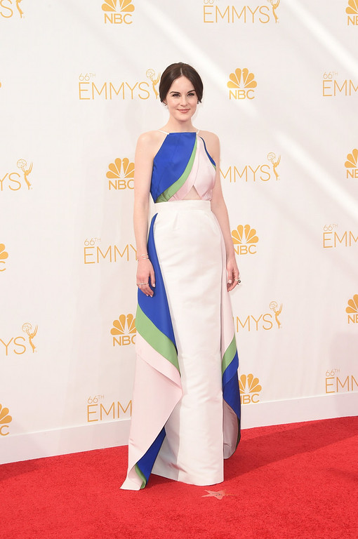 . Actress Michelle Dockery attends the 66th Annual Primetime Emmy Awards held at Nokia Theatre L.A. Live on August 25, 2014 in Los Angeles, California.  (Photo by Jason Merritt/Getty Images)