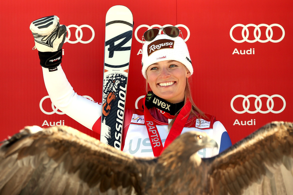 . Lara Gut #18 of Switzerland celebrates on the medal\'s podium after winning the ladies\' Super G on Raptor for the Audi 2013 FIS Beaver Creek World Cup on November 30, 2013 in Beaver Creek, Colorado.  (Photo by Matthew Stockman/Getty Images)