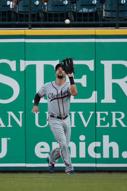 . Cleveland Indians right fielder Lonnie Chisenhall (8) makes a catch of a ball hit by Detroit Tigers Miguel Cabrera, not pictured, during the first inning in the second baseball game of a doubleheader in Detroit, Saturday, July 1, 2017. (AP Photo/Rick Osentoski)