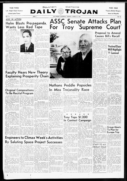 Daily Trojan, Vol. 52, No. 92, March 16, 1961