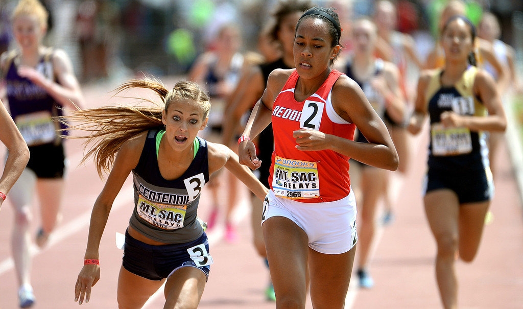 . Redondo\'s Amber Gore (2) wins the 800 meter run Invitational during the Mt. SAC Relays in Hilmer Lodge Stadium on the campus of Mt. San Antonio College in Walnut, Calif., on Saturday, April 19, 2014. 