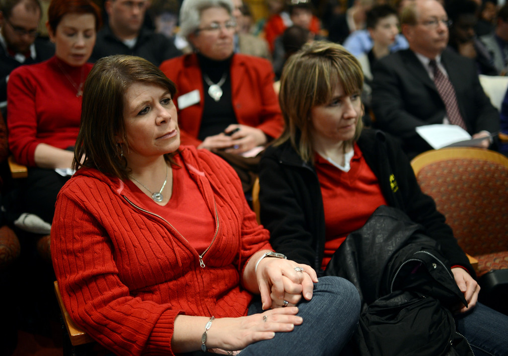 . DENVER, CO. - FEBRUARY 28: Vicki Thompson of Loveland, left, and her partner Wendy Thompson are listening the House Judiciary Committee\'s hearing of Senate Bill 11, which would allow gay couples to form civil unions. They have been couple for 20 years. February 28, 2013. Denver, Colorado. (Photo By Hyoung Chang/The Denver Post)