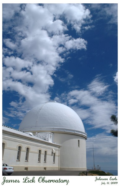 """James Lick Observatory  The James Lick Observatory, built in 1875 and deeded to the University of California.  This dome holds the original 36"""" refracting telescope for the observatory, the Great Lick Refractor, finished in 1888.  Mount Hamilton, San Jose, California, 11 July 2009."""