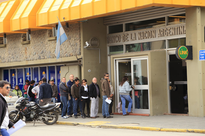 at Banks and Post Office in Ushuaia, there always is a line up stretching outside the building