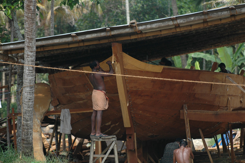 Boat building along the backwaters in Alleppey