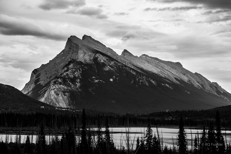 Rundle Mountain from Vermillion Lakes at Banff.