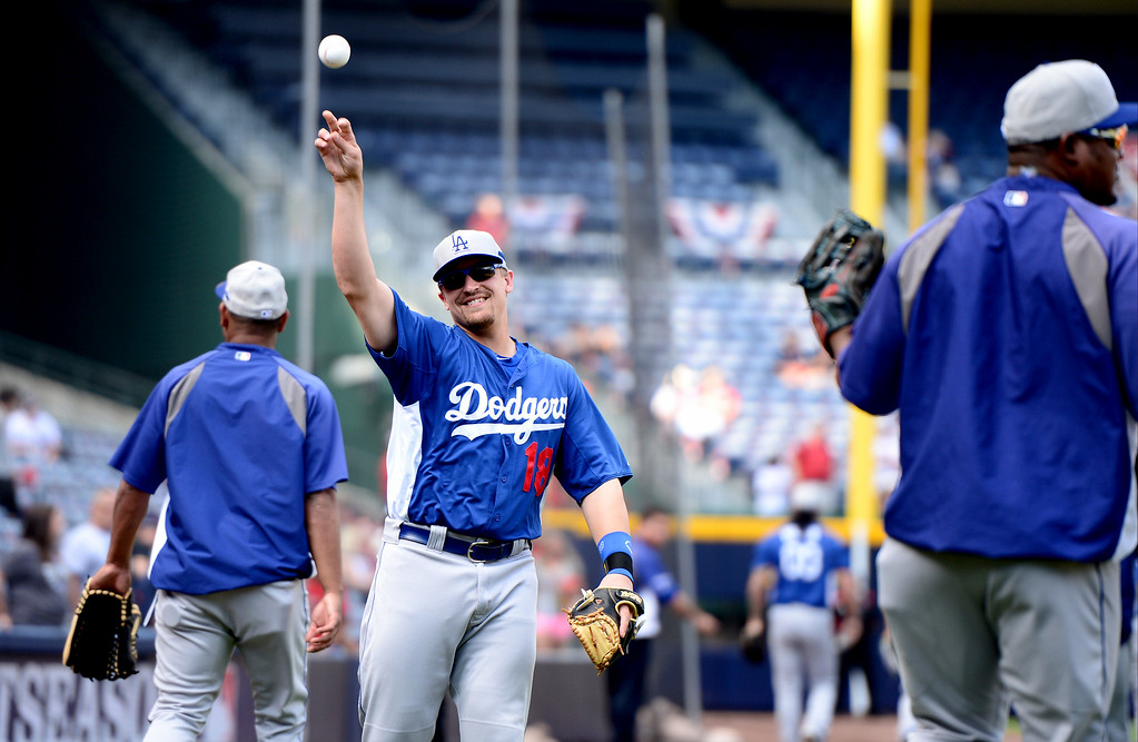 . Los Angeles Dodgers\'  Tim Federowicz warms up with his team as they get ready to play the Atlanta Braves in game 2 of the playoffs Thursday, October 3, 2013 at Turner Field in Atlanta, Georgia. (Photo by Sarah Reingewirtz/Pasadena Star- News)