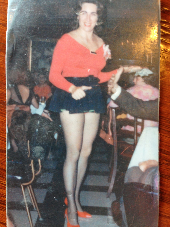 . Bernie Pitts in her 30s, waitressing at a nightclub that no longer exists. This is a photo she carried with her in her purse.