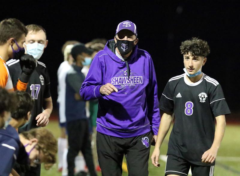 Shawsheen Tech vs Essex Tech boys soccer.  Shawsheen Tech head coach tom Severo. Players include Derek Costello (17) and Noah Rizzo (8). (SUN/Julia Malakie)