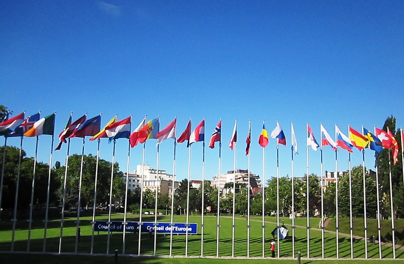 Flagpoles at the Council of Europe