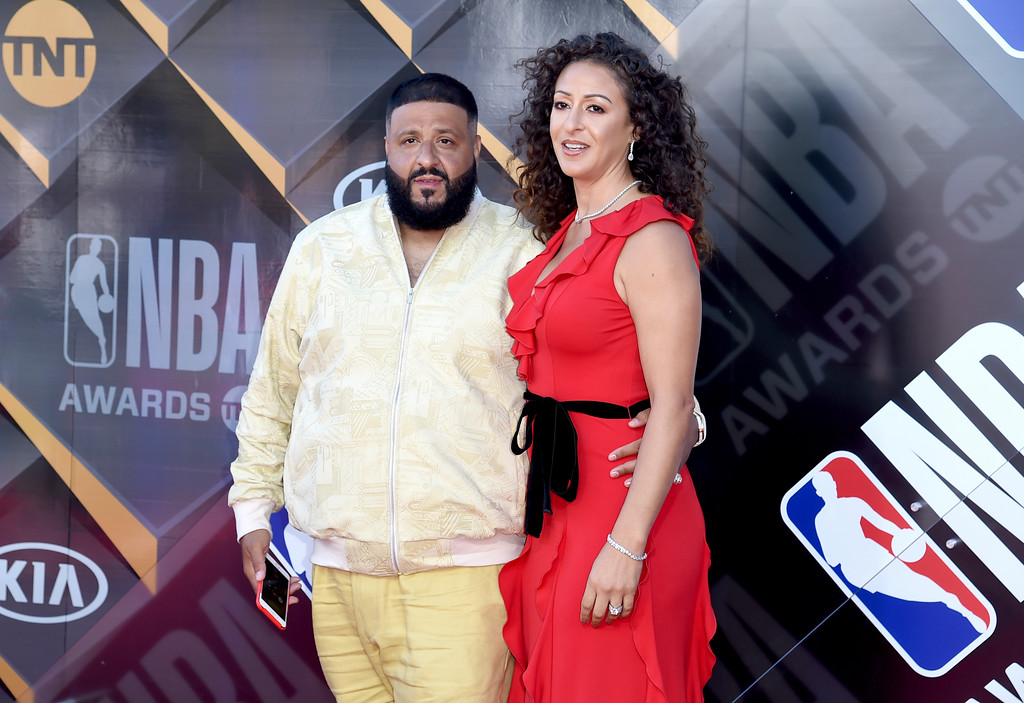 . DJ Khaled, left, and Nicole Tuck arrive at the NBA Awards on Monday, June 25, 2018, at the Barker Hangar in Santa Monica, Calif. (Photo by Richard Shotwell/Invision/AP)
