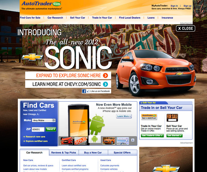 The first AutoTrader.com takeover page.  Our design was chosen over Satchi's own agencies comps.  This young designer had little experience when I hired him.  Very proud how far the team evolved.