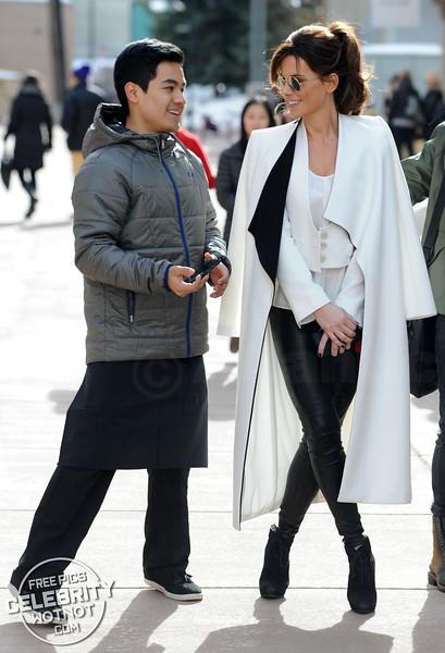 Kate Beckinsale Stylish In alice + olivia Collar Coat and JBrand Leather Leggings, Utah