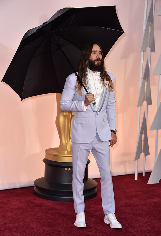 . Jared Leto arrives at the Oscars on Sunday, Feb. 22, 2015, at the Dolby Theatre in Los Angeles. (Photo by Jordan Strauss/Invision/AP)