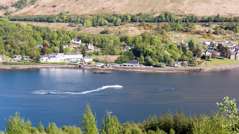 Speed boat on Loch Long