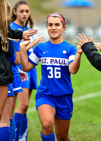 10/6/2018 Mike Orazzi | Staff St. Paul Girls Soccer's Isabella Griffin (36) Saturday.