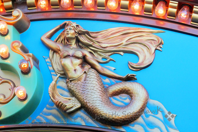 The Mermaid ~ Mermaid detail from the carousel at California Adventure at Disneyland in California.