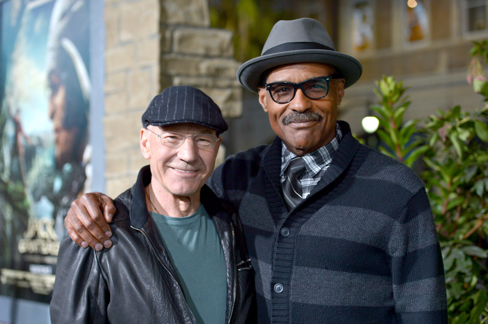 Description of . Actors Patrick Stewart (L) and Michael Dorn attend the premiere of New Line Cinema's