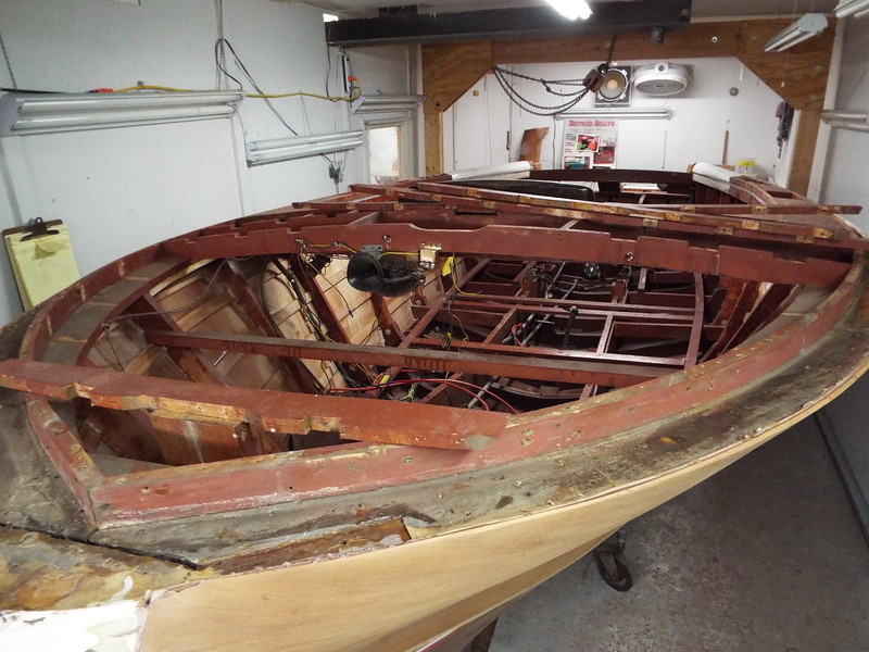 Old deck frames removed, sanded, and ready to epoxy in place.