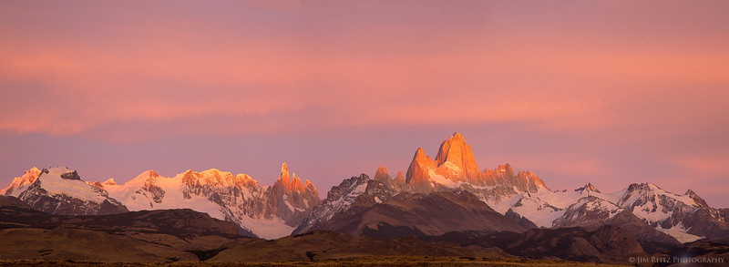 Panoramic shot of the entire Fitz Roy range at sunrise.