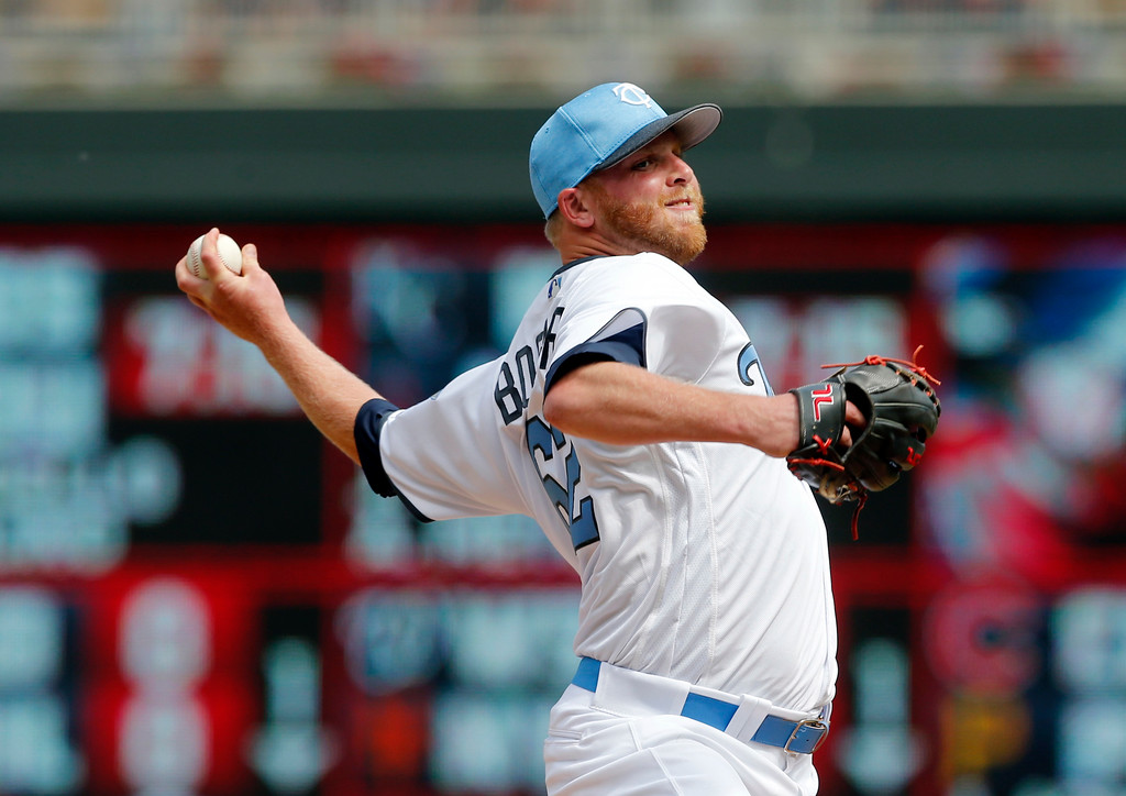 . Minnesota Twins relief pitcher Buddy Boshers throws against the Cleveland Indians in the sixth inning during game one of a baseball doubleheader Saturday, June 17, 2017, in Minneapolis. (AP Photo/Jim Mone)
