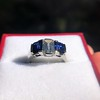 2.83ctw Vintage Emerald Diamond and Sapphire Trilogy Ring 24