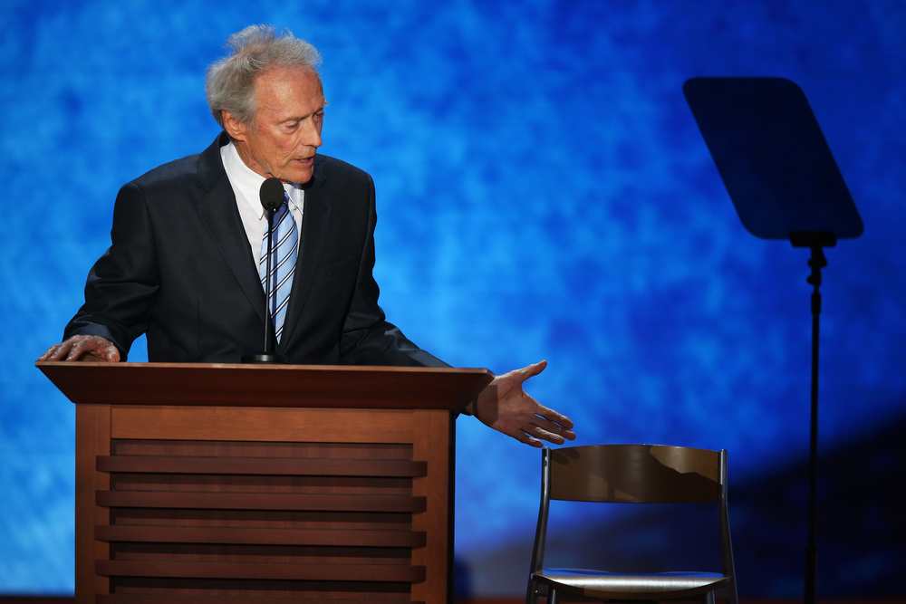Description of . Actor Clint Eastwood speaks during the final day of the Republican National Convention at the Tampa Bay Times Forum on August 30, 2012 in Tampa, Florida. Former Massachusetts Gov. Mitt Romney was nominated as the Republican presidential candidate during the RNC which will conclude today.  (Photo by Mark Wilson/Getty Images)
