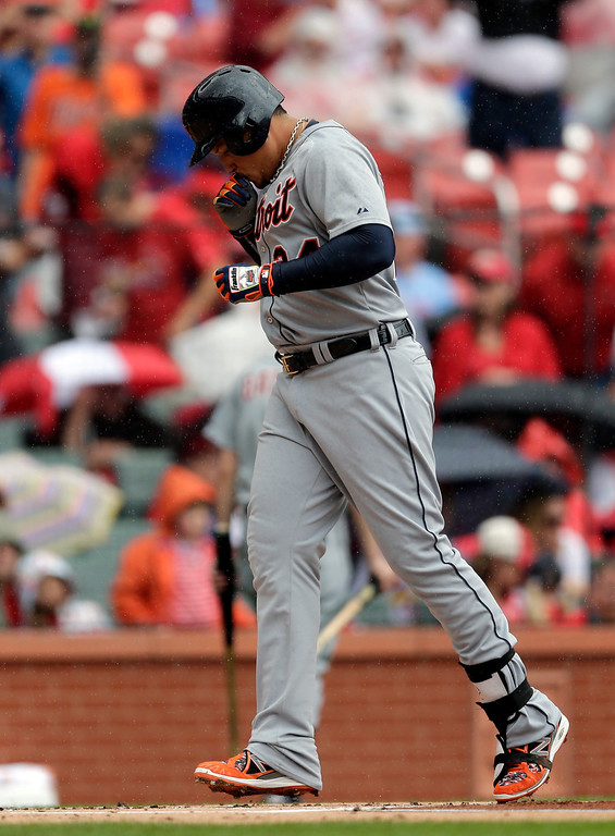 . Detroit Tigers\' Miguel Cabrera touches home plate after hitting a solo home run during the first inning of a baseball game against the St. Louis Cardinals, Saturday, May 16, 2015, in St. Louis. (AP Photo/Jeff Roberson)