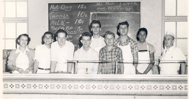 Activities 1949 Cafeteria Crew with Tom and Helen.jpg