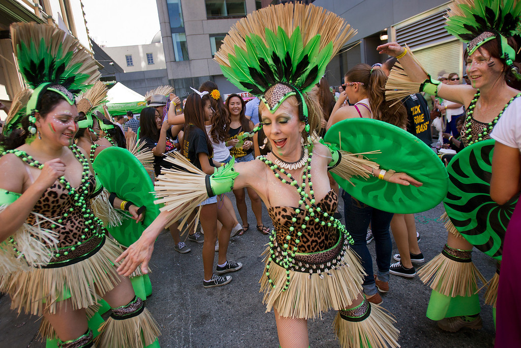 . Members of the Samba Mundial group dance at the San Jose Jazz Festival, in San Jose, Calif., on Saturday Aug. 10, 2013.  (LiPo Ching/Bay Area News Group)