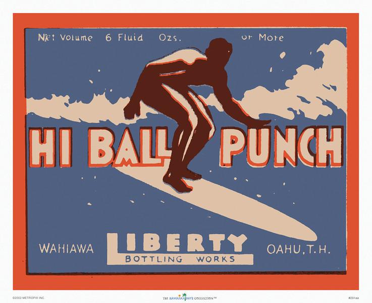 291: 'Hi Ball Punch' Product Label. Ca. 1939.