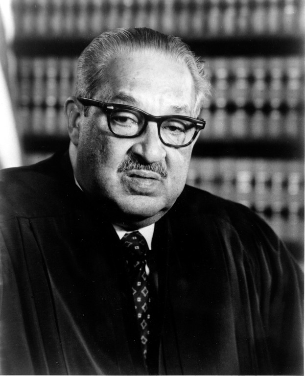 . U.S. Supreme Court Justice Thurgood Marshall poses in Washington, D.C., in 1983.  (AP Photo)
