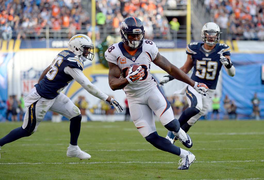 . SAN DIEGO, CA - DECEMBER 14: Denver Broncos wide receiver Demaryius Thomas (88) heads up field on his way to a touchdown against the San Diego Chargerss during the third quarter December 14, 2014 at Qualcomm Stadium (Photo By John Leyba/The Denver Post)