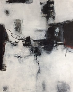 """Black & White 1 - Wallace, 60""""x48"""" painting on canvas"""